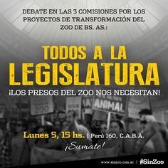Este Lunes 5/12, los presos del Zoo de Bs. As. nos necesitan ¡TODOS A LA LEGISLATURA!  El Gobierno de la Ciudad de Bs As planea llevar los 1500 animales del zoo de Palermo a una muerte segura, a más hacinamiento, tortura y exhibición en los paupérrimos zoos del interior del país. Este lunes 5 de Diciembre en la Legislatura Porteña a las 15 hs. se darán cita las 3 comisiones que tratarán los dos proyectos de Ley que tienen por objeto el zoo porteño, uno de ellos, presentado por el legislador…