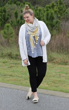 Casual weekend outfit: cream boyfriend cardigan, polka dot chambray popover, black ponte pants, mustard stripe scarf and black cap-toe espadrilles.