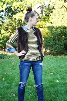 Another wearable fur vest look!