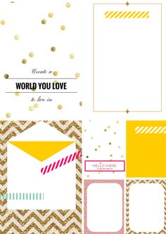 Free Printable: Glitter - Bright Journal Cards (5)