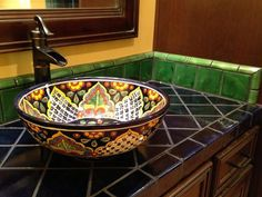 Mexican tiles, vessel sink from Tierra y Fuego.