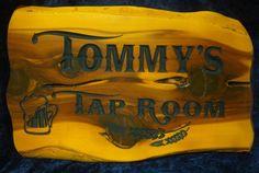 Cedarslabsigns.com 18 inch cedar bar sign Tommy's tap Room Beer Mug and Hopps