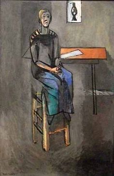 Reproduction de Matisse, Femme Sur Un Haut Tabouret. Tableau peint à la main dans nos ateliers. Peinture à l'huile sur toile.