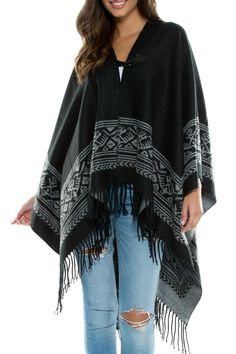 We love this Aztec Sweater blanket! It looks darling with skinny denim and boots!   Aztec Sweater Blanket by Elan. Clothing - Sweaters - Cardigans Nebraska