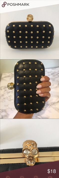 "Studded Skull Clutch Studded skull clutch is in good used condition. Some small scuffs and two missing rhinestones on the skull. Other then that it is in great working condition and so adorable! Width 6.5"" Length 4"" Bags Clutches & Wristlets"