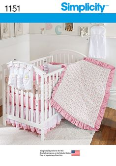 This sweet nursery set would make a great gift for the mother-to-be.  Simplicity pattern 1151 includes a fitted sheet, dust ruffle, bumpers, quilt, pillow, diaper stacker and hanging organizer.