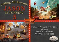 Chalkboard Disney Planes Fire and Rescue Movie Invitations $8.99
