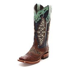 Lucchese Brown Full Quill Ostrich Cowgirl Boots