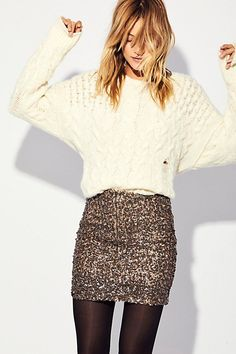 White Top Sequin Mini Skirt Outfit For School