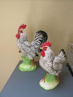 Vintage Rooster & Hen Figurines Ceramic Chicken Farm Pottery Napco Ware Japan