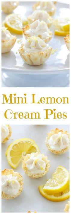 Mini Lemon Cream Pies | These one bite mini cream pies are a perfect sized dessert! | @reciperunner by myrna