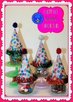 hoopla palooza: party hat treat favor jars