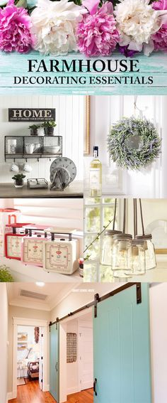 Farmhouse Decorating Ideas for the home! Kitchen, bathroom, bedroom, and other rustic design ideas.