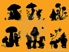 Silhouettes of gnomes and mushrooms. by Denisantibura, via Dreamstime