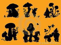 Silhouettes of gnomes and mushrooms. by Denisantibura, via Dreamstime