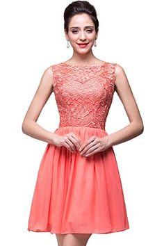 Designer Short Homecoming Dresses Cheap Chiffon Party Gowns Coral *** Click image to review more details.