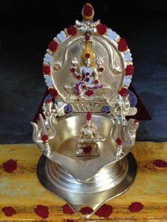 All gods in a single vilaku Diwali Decorations At Home, Festival Decorations, Ceremony Decorations, Kalash Decoration, Silver Pooja Items, Pooja Mandir, Silver Lamp, Pooja Room Door Design, Puja Room