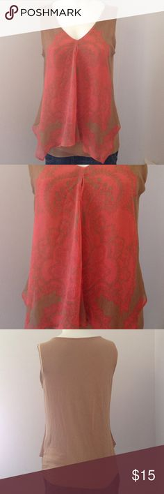 New York & company sleeveless top size medium New York & company sleeveless top size medium . Rayon and spandex body with a polyester overlay tan or light brown and coral. Great condition Tops
