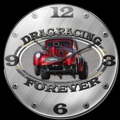 Drag Racing Forever Metal Wall Clock Sign 14 x 14 Inches, Vintage Style Retro Garage Art Home Decor by HomeDecorGarageArt on Etsy