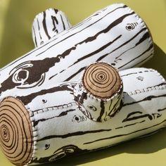 Screen Printed Wool Log Pillow