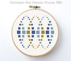 Mod Squares Cross Stitch Pattern Instant Download Geometric Modern Needlepoint design
