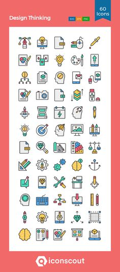 Design Thinking  Icon Pack - 60 Colored Outline Icons Office Note, Png Icons, Woman Standing, Pictogram, Icon Pack, Icon Font, Design Thinking, Design Development, Business Design