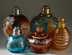 Lot: Collection of 5 Antique Glass Perfume Bottle Atomizers, Lot Number: 1711, Starting Bid: $125, Auctioneer: Vidi Vici Gallery, Auction: December Estate Auction , Date: December 28th, 2017 EST