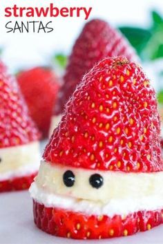 Healthy Strawberry Santas A fun Christmas food idea for kids. Simple to make and so cute. by kathie