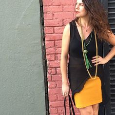 Cut dress liner w/ sports bra. Thrifted mustard skirt. Vintage jewelry. #BabaChic #sfstreetstyle