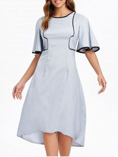 f79326d31d8 Women Light-gray Contrast Round Neck Flare Sleeve Casual Dress - M