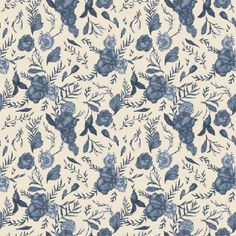 Blue Floral Pattern | Jessica Roux Removable Wallpaper | WallsNeedLove