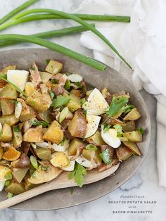 Roasted Potato Salad with Bacon Dressing | foodiecrush.com