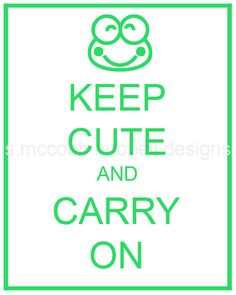 Keep Cute and Carry On Green and White Keroppi by smccobbhubbell