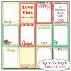Project life Journal Cards with matching scrapbook kit and matching freebie