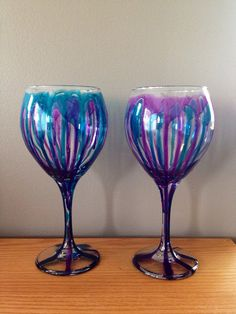 painted wine glasses (2) on Etsy, $12.00