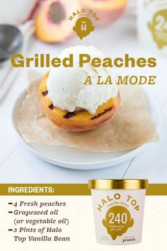 Summer may be over, but you can enjoy peaches all year round. Especially when you eat them a la mode with Halo Top's Vanilla Bean ice cream! At just 240 calories per pint (yes, really), this is one delicious dessert you can enjoy guilt-free. Get the full recipe.