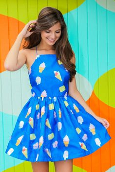 Cherry On Top Dress-Blueberry - Skater Dresses - All Dresses   The Red Dress Boutique