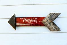 Reclaimed Coke Arrow Sign Rustic Arrow Outline by ATXFrontporch