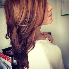 dark brown hair with golden lowlights <3