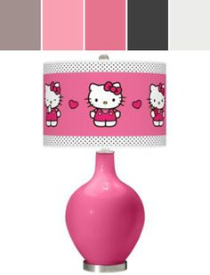 Blossom Pink Hello Kitty Pink and Polka Dots Ovo Table Lamp Designed By Lamps Plus via Stylyze