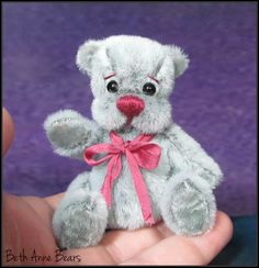 "**Beth Franco Bears**  2 3/4 inches sitting and 3 1/8"" tall miniature bear."