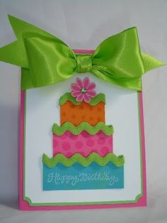 Birthday card...make without the big  bow That bow would be too hard to mail! I love ric rac!