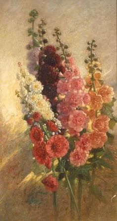 "Samuel Colman, ""Hollyhocks"""