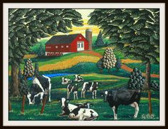 """Colorful and Whimsical Folk Art Print of  barn/cows in Woodstock, CT by artist Tom Menard """"Lazy Grazin"""". $65.00, via Etsy."""