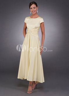 Short Sleeves Satin Mother Of Bride And Groom Dress $54.99 - Mother of the Bride Dresses - Wedding Party Dresses - Wedding - DressInWedding.com