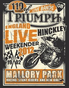 graphic design for Triumph motorcycles apparel. Indian Motorcycles, Triumph Motorcycles, Triumph Motorbikes, Vintage Motorcycles, Triumph Logo, Bike Poster, Motorcycle Posters, Motorcycle Design, Motorcycle Outfit
