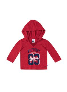 Camiseta bebê menino com capuz na cor vermelho em tamanho P. As camisetas de manga longa são essenciais para compor o enxoval de…