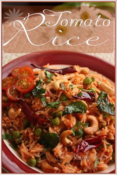 Spicy Tomato Rice: Lazy People's Version Indian Food Recipes, Vegetarian Recipes, Cooking Recipes, Healthy Recipes, Delicious Recipes, Tomato Rice, Easy Rice Recipes, Vegan Main Dishes, South Indian Food