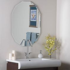 Contemporary Art Sites Decor Wonderland in W x in H Rectangular Frameless Bathroom Mirror with Hardware and Beveled Edges bathroom ideas Pinterest Bathroom mirrors