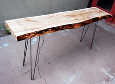 Our Mid Century: Our DIY live edge entry table
